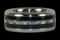 White Carbon Fiber and Black Ebony Titanium Ring - Hawaii Titanium Rings