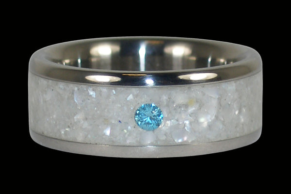 White Pearl Blue Diamond Hawaii Titanium Ring®
