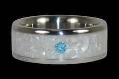 White Pearl Blue Diamond Titanium Ring - Hawaii Titanium Rings