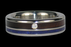 Diamond Blackwood and Lapis Titanium Ring - Hawaii Titanium Rings  - 1