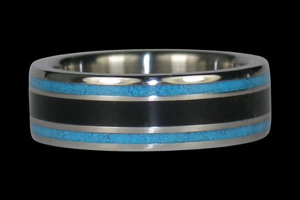 Black Jet and Blue Turquoise Titanium Ring