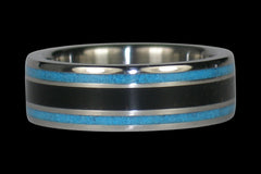 Black Jet and Blue Turquoise Titanium Ring - Hawaii Titanium Rings