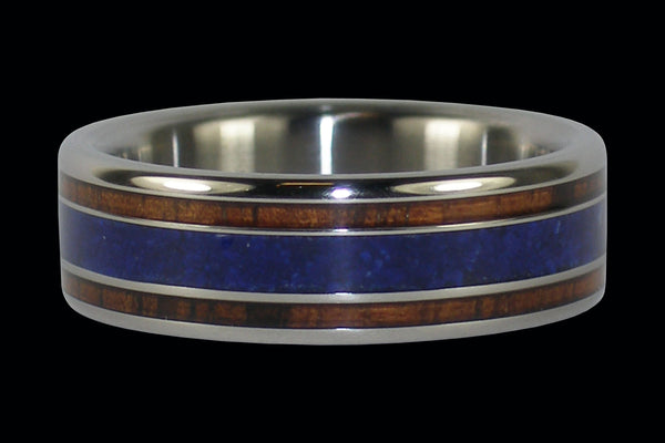 Koa Wood Titanium Ring with Lapis Inlay