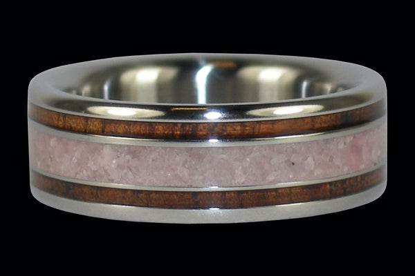 Koa Wood Titanium Ring with Lepidolite