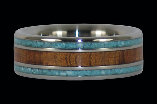 Turquoise and Koa Inlay Titanium Ring