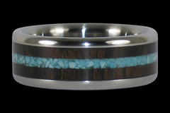 Blackwood and Turquoise Titanium Ring - Hawaii Titanium Rings