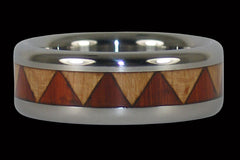 Maple and Padauk Wood Inlay Titanium Ring - Hawaii Titanium Rings