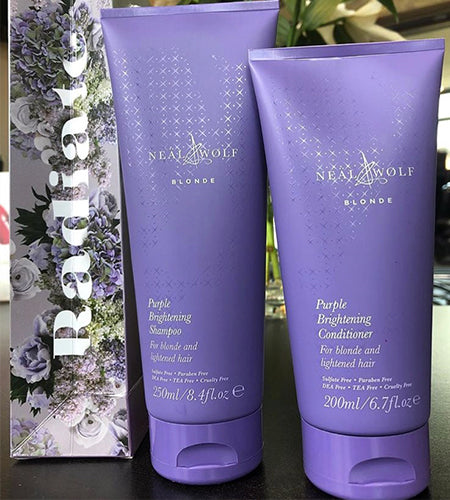 Purple shampoo & conditioner for blonde hair by Neal & Wolf