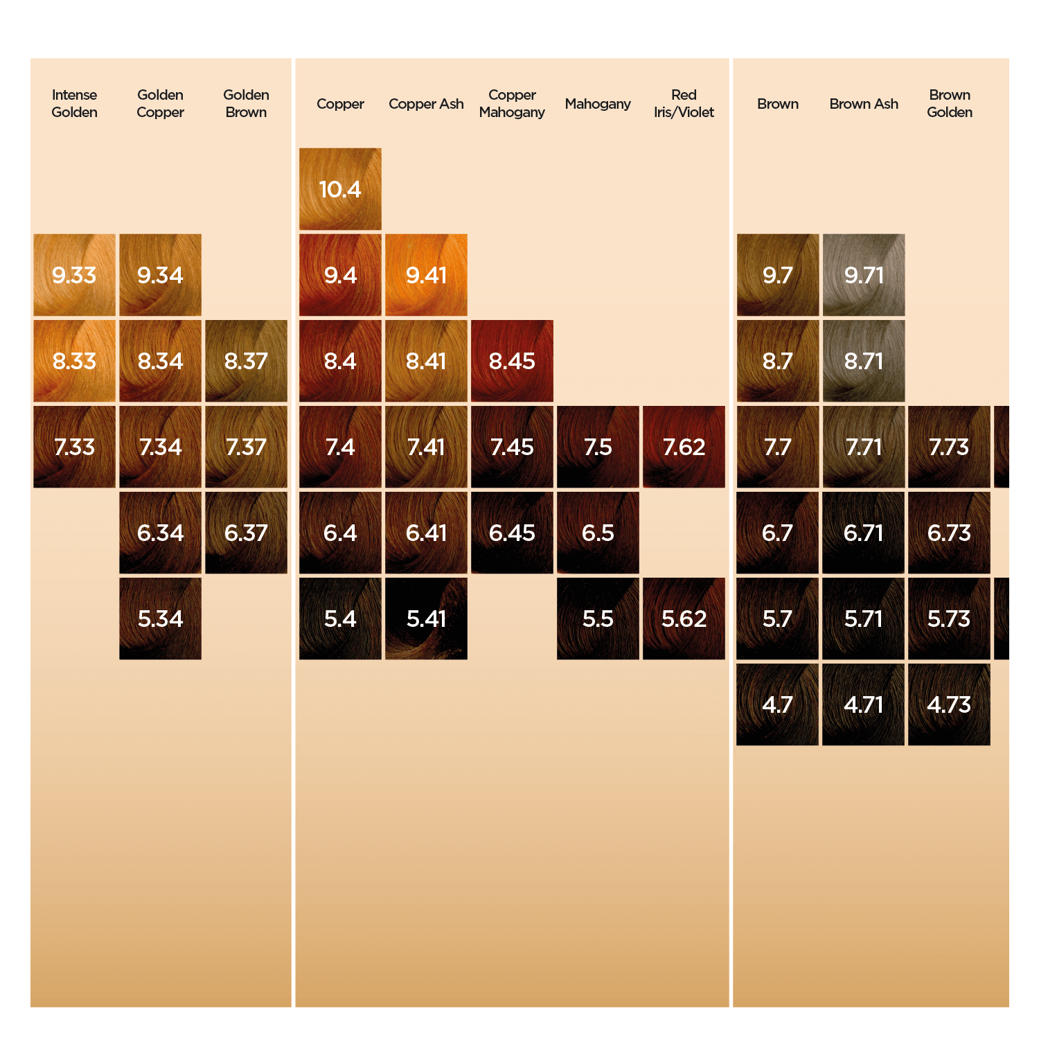 Neal & Wolf Colour Shade Chart Page 2
