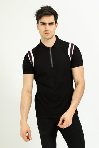Shoulder Stripped Polo