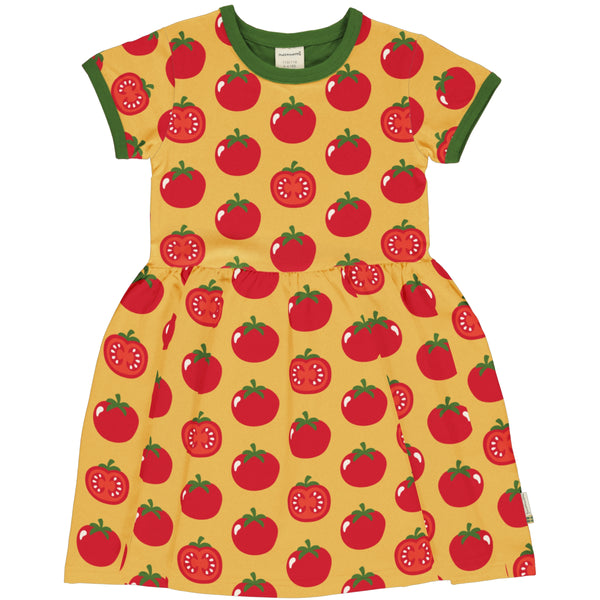 Maxomorra Spring Dress Spin SS TOMATO