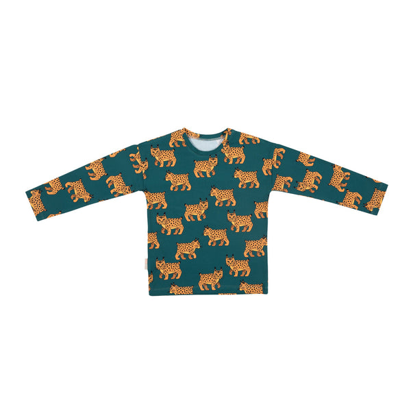 Malinami LYNX ON DARK GREEN LONGSLEEVE sale