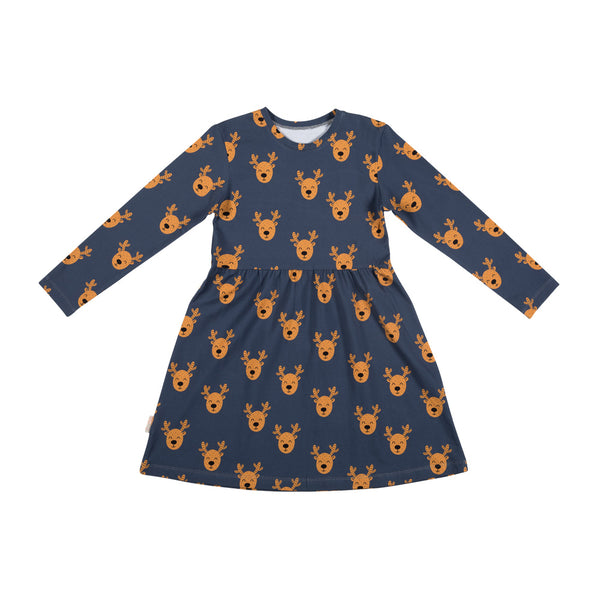 Malinami MOOSE ON DARK GREY LS DRESS christmas sale