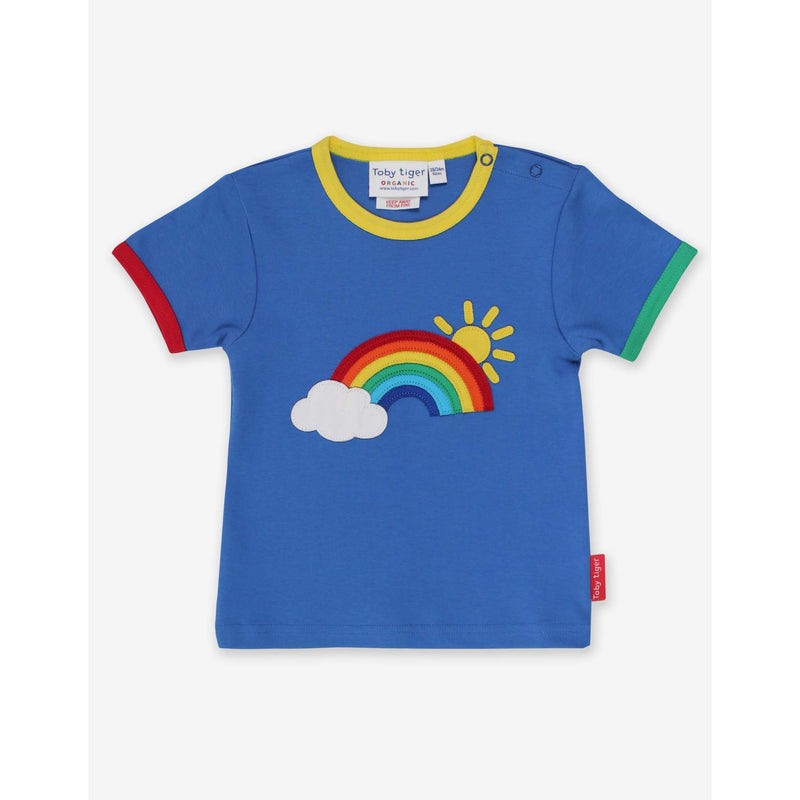 Toby Tiger SS21 Organic Rainbow Sun and Cloud Applique T-Shirt