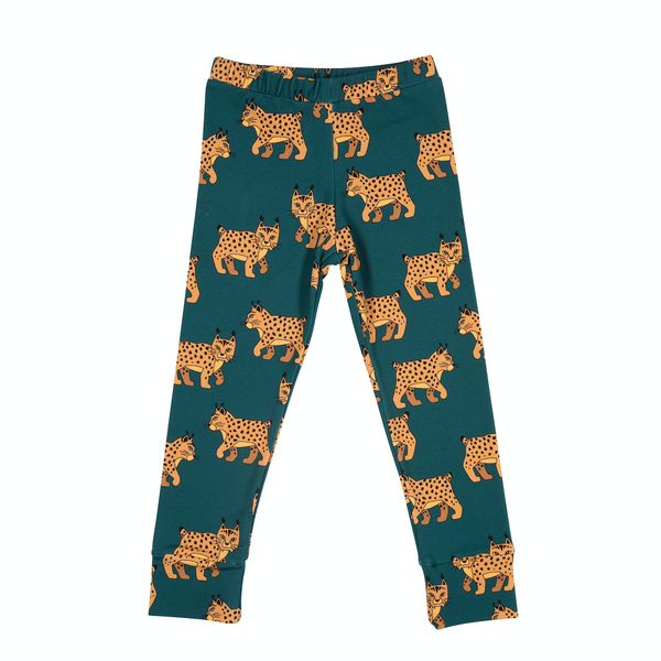 Malinami LYNX ON DARK GREEN LEGGINGS sale
