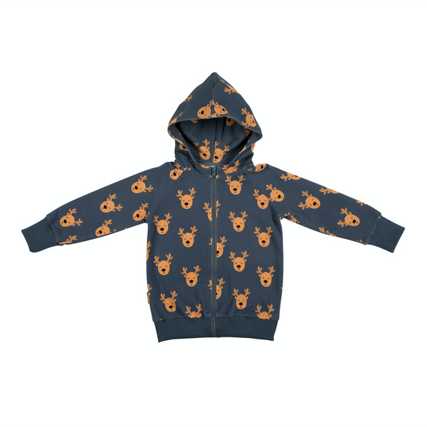 Malinami MOOSE ON DARK GREEN ZIP UP HOODIE christmas sale