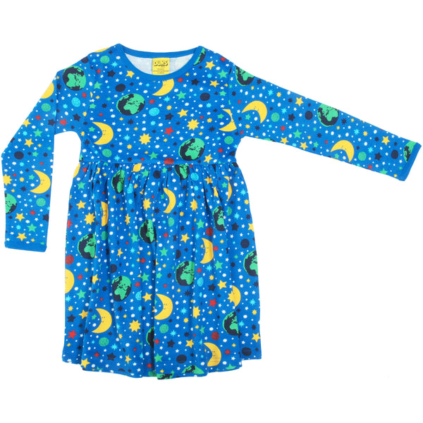 DUNS Sweden Winter 2020 LS Gathered Dress Mother Earth Blue