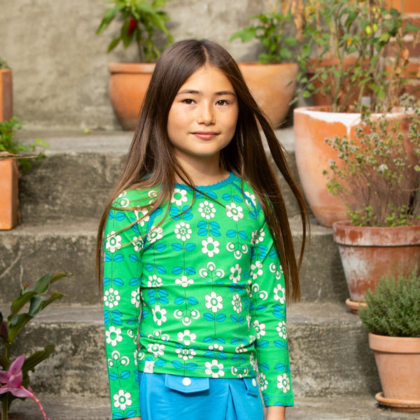 Alba SS21 Ghita Blouse Kelly Green Fairy tail Flowers