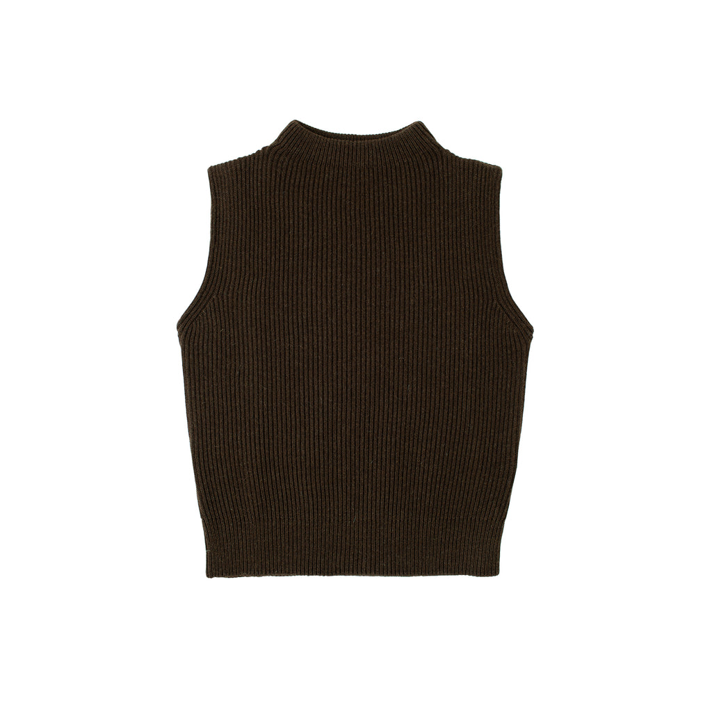 Navy Vest - Natural Brown