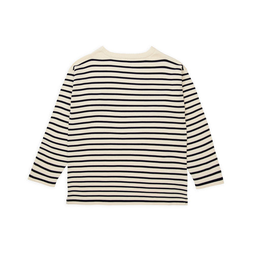 ANDERSEN-ANDERSEN Boatsman - Raw Cotton ground Royal Blue stripe