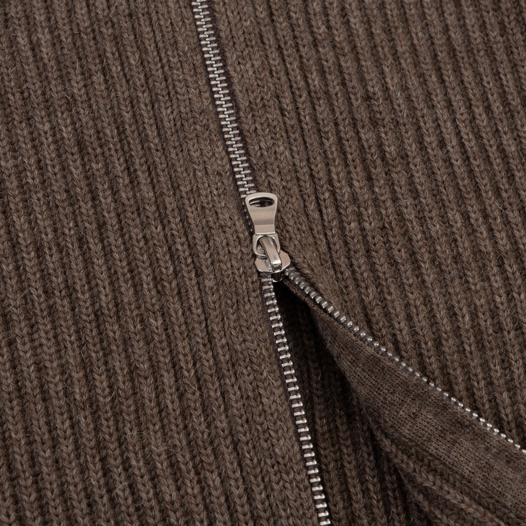 Navy Full-Zip Pockets - Natural Taupe