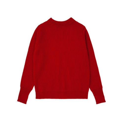 Navy Crewneck - Red