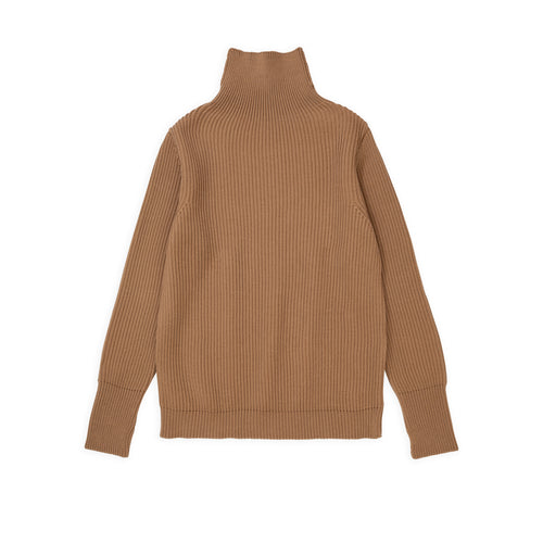 Navy Turtleneck - Camel