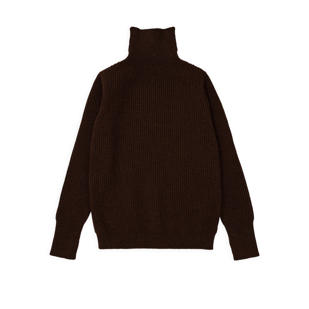 Navy Turtleneck - Natural Brown