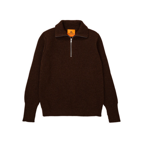 Navy Half-Zip - Natural Brown