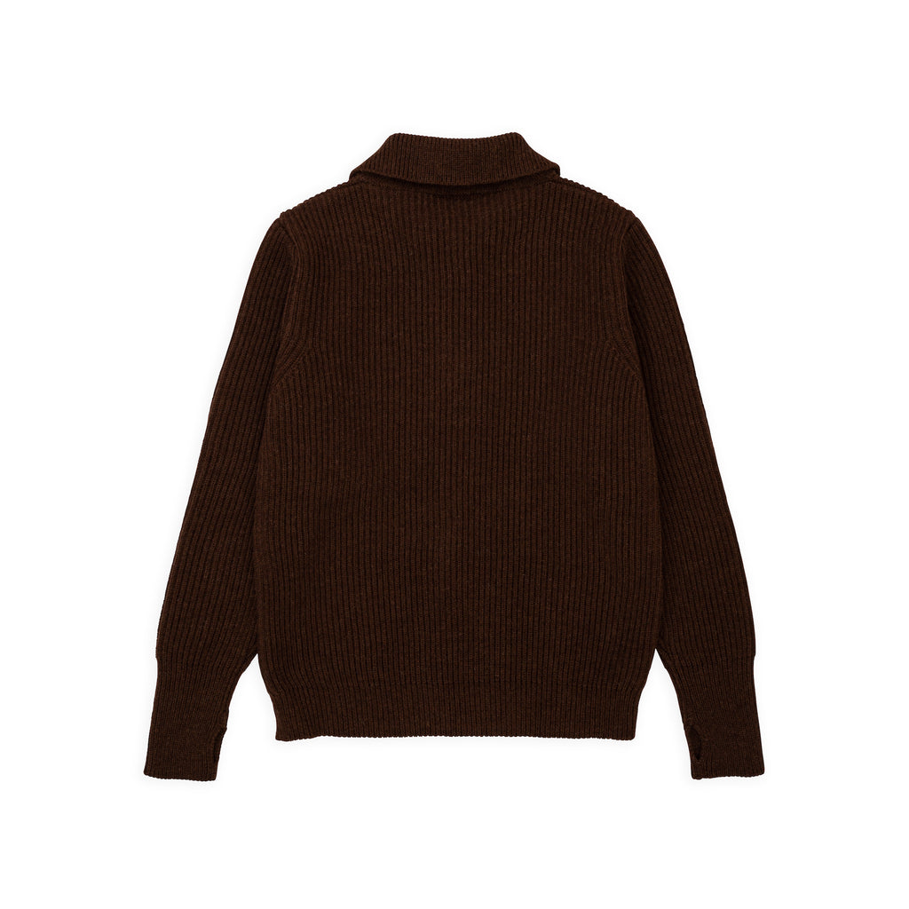 ANDERSEN-ANDERSEN Navy Half Zip - Natural Brown
