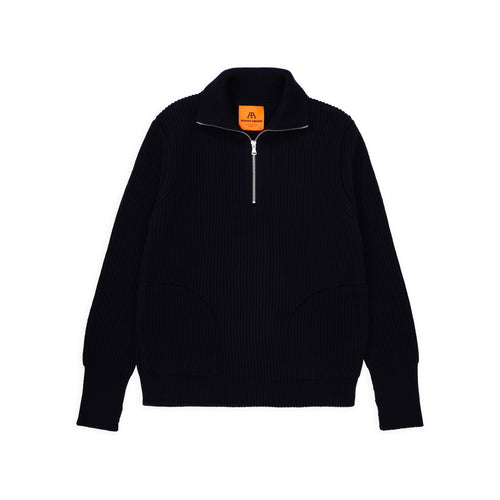 ANDERSEN-ANDERSEN Navy Half Zip Pockets - Navy Blue