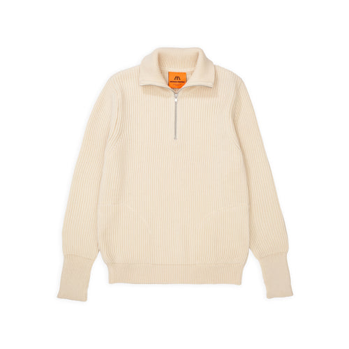 ANDERSEN-ANDERSEN Navy Half Zip Pockets - Off White