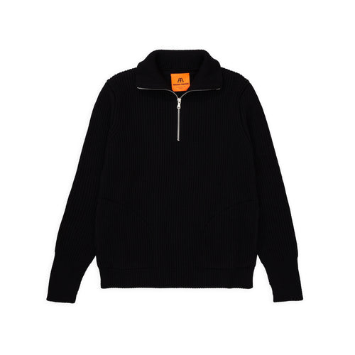Navy Half-Zip Pockets - Black