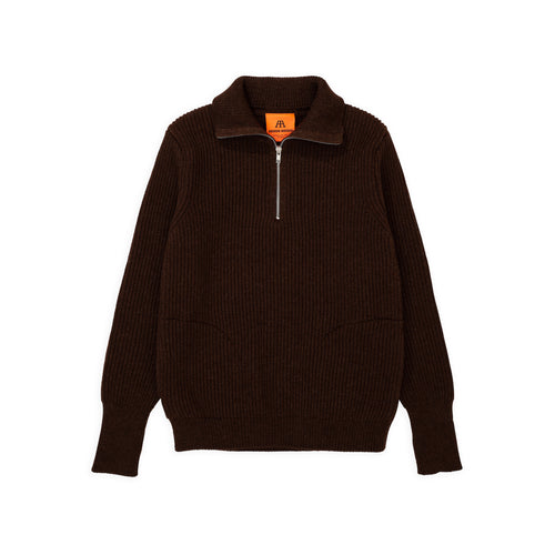 ANDERSEN-ANDERSEN Navy Half Zip Pockets - Natural Brown