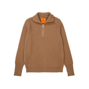Navy Half-Zip Pockets - Camel