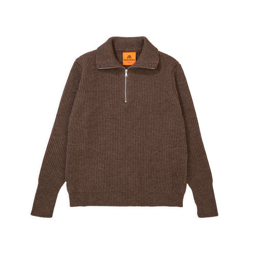 ANDERSEN-ANDERSEN Navy Half Zip Pockets - Natural Taupe