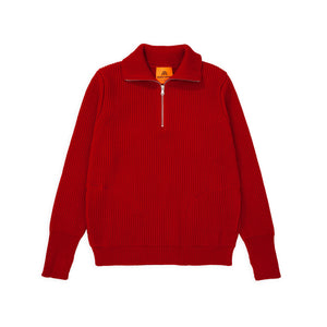 Navy Half-Zip Pockets - Red