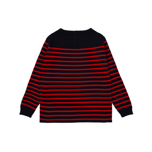 ANDERSEN-ANDERSEN Marine Stripe - Navy Blue ground Red stripe
