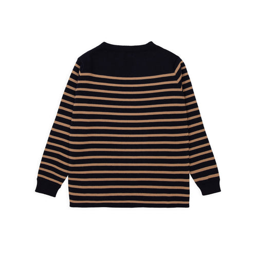 ANDERSEN-ANDERSEN Marine Stripe - Navy Blue ground Camel stripe