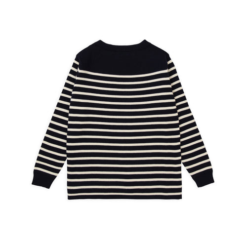 ANDERSEN-ANDERSEN Marine Stripe - Navy Blue ground Off White stripe
