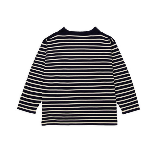 ANDERSEN-ANDERSEN Boatsman - Royal blue ground Raw cotton stripe