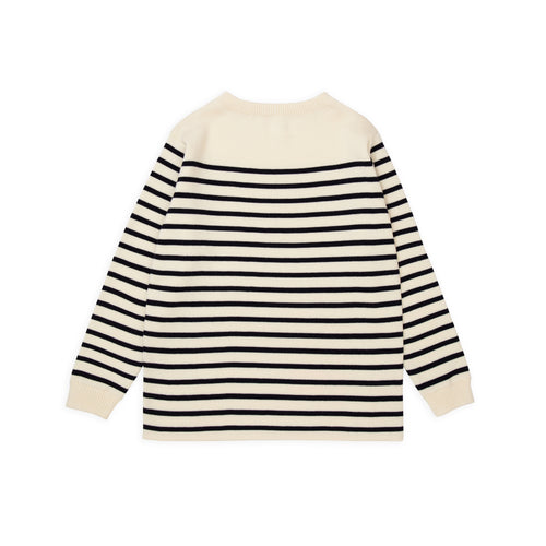 ANDERSEN-ANDERSEN Marine Stripe - Off White ground Navy Blue stripe