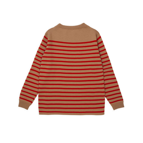ANDERSEN-ANDERSEN Marine Stripe - Camel ground Red stripe