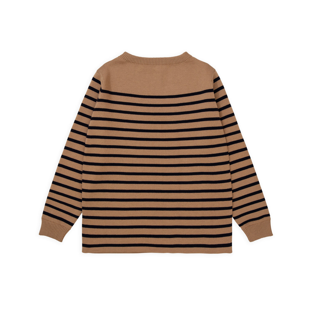 Marine Stripe - Camel W/ Navy Blue Stripe