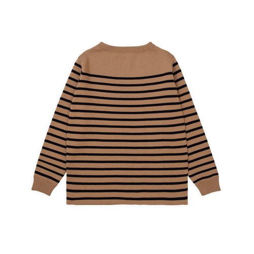 ANDERSEN-ANDERSEN Marine Stripe - Camel ground Navy blue stripe