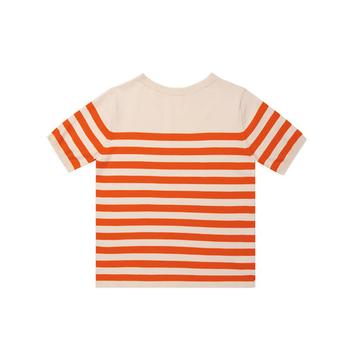 ANDERSEN-ANDERSEN Rigger - Raw cotton ground Orange stripe