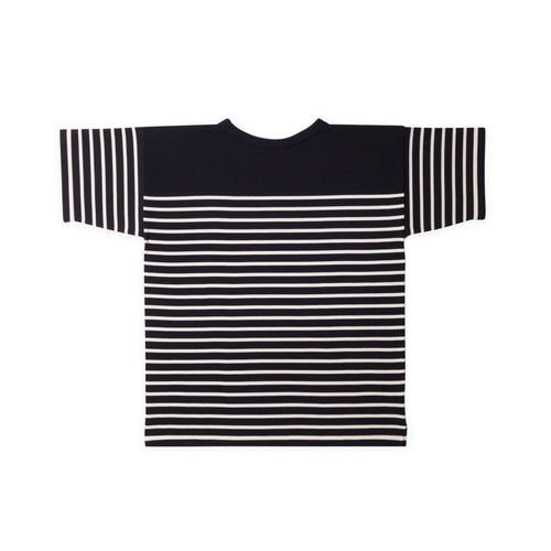 T-Shirt - Navy Blue Gr./Off-White Str.
