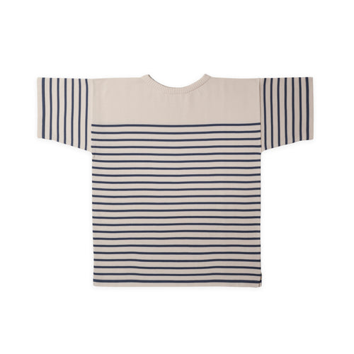 ANDERSEN-ANDERSEN T Shirt - Off White ground Petroleum stripe