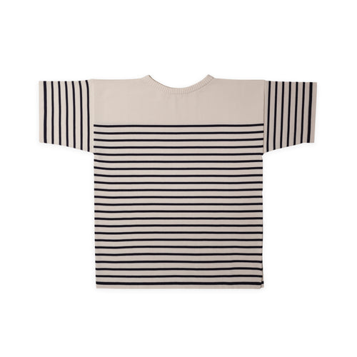 ANDERSEN-ANDERSEN T Shirt - Off White ground Royal Blue stripe