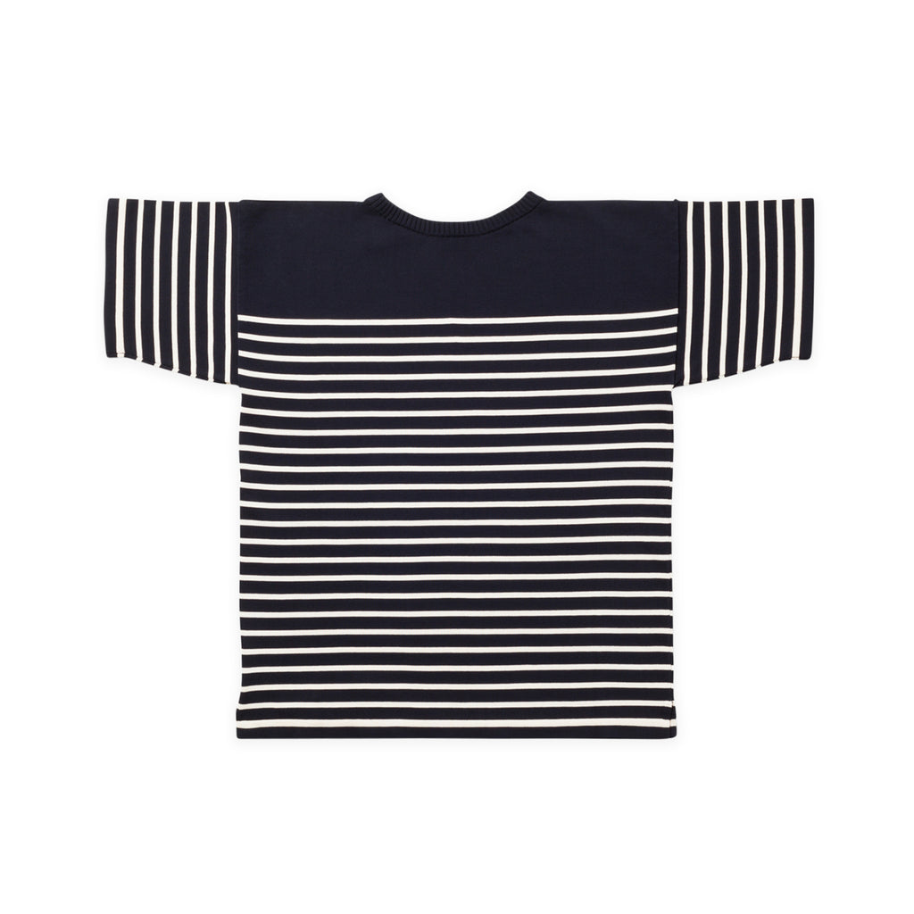 ANDERSEN-ANDERSEN T Shirt - Navy Blue ground Raw cotton stripe